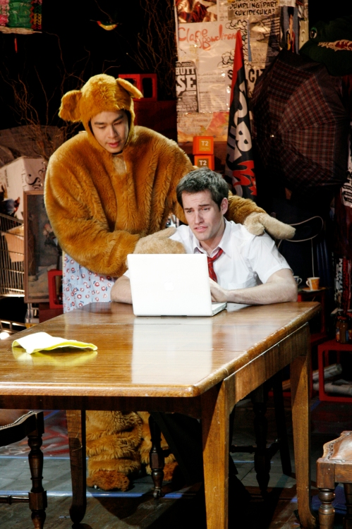 Jono Wood as Jeremy with a concerned Apocalypse Bear.